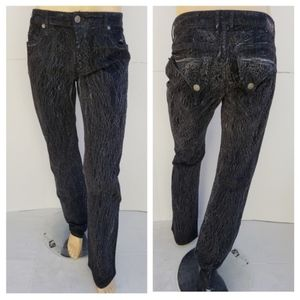 NEW ROBIN'S JEAN Straight -Black Crackle SZ 34